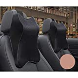 Car Seat Headrest Neck Rest Cushion, Durable 100% Pure Memory Foam Neck Pillow with Breathable Removable Cover, Comfortable Ergonomic & Neck Pain Relief, Perfect Soft for Driver Passenger Seat (Black)
