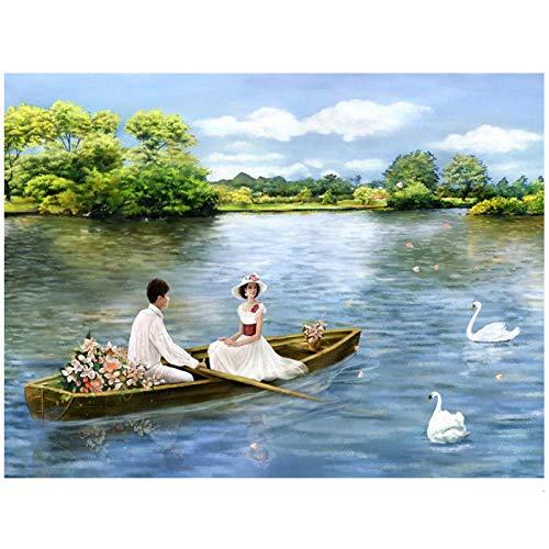 hdbklhjxk schilderen op nummers, doe-het-zelf zee boot schat landschap afbeelding tekening woonkamer acryl vakantie geschenken linnen decor kunst 50x65cm niet-ingelijst