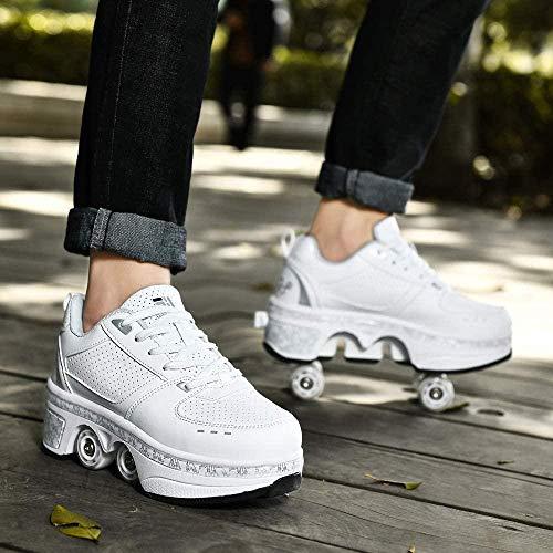 qmj Rollschuhe Schuhe Mit Rollen 2-in-1-multifunktions-turnschuhe Verstellbare Skateboardschuhe Led Beleuchtet Schuhe,White High Top-EU33