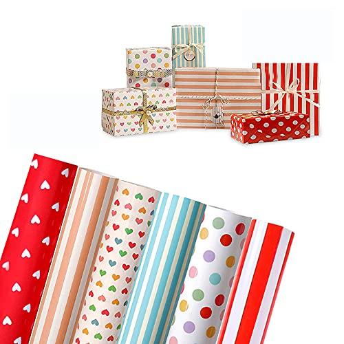 Geburtstag Geschenkpapier Set 6 Rollen 70 x 50cm Geschenkpapier Kinder für Geburtstags Geschenk Verpackung mit Muster Streifen Herzförmig Punkt Rot für Kindertag, Valentinstag, Muttertag, Weihnachten