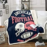 Football Fleece Blanket Double Helmets Blanket Throw American All Stars Football Games Sherpa Blanket for Kids Teen Boys Young Man More Than Sport Fuzzy Blanket Breathable Throw 50'x60' Navy Blue