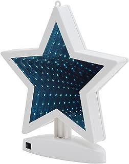 Hopolon 3D Creative Double-Sided Tunnel Lamp,LED Mirror Light,Battery Powered/USB Plug in,Star Sign Night Light for Christmas,Birthday Party,Wedding,Living Room Decor(White Star)