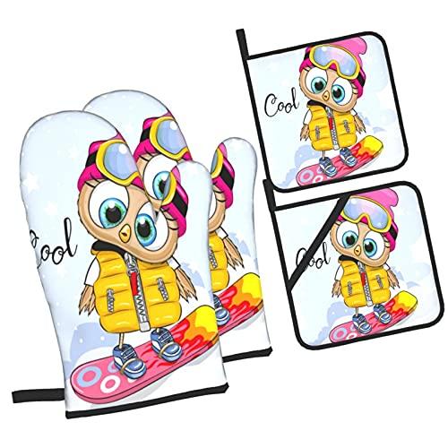Linda Chica búho de Dibujos Animados en una Tabla de Snowboard en,4Pcs Guantes de Cocina y Juegos de Soportes para Macetas,con Caliente Almohadillas para Cocinar,Hornear,Asar a la Parrilla Guantes