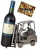 BRUBAKER Weinflaschenhalter Staplerfahrer Deko-Objekt Metall Flaschenständer mit Grußkarte für Weingeschenk