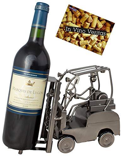BRUBAKER Porta botella de vino apilador conductor - Decoraciónn soporte de botella de metal - con tarjeta de saludo