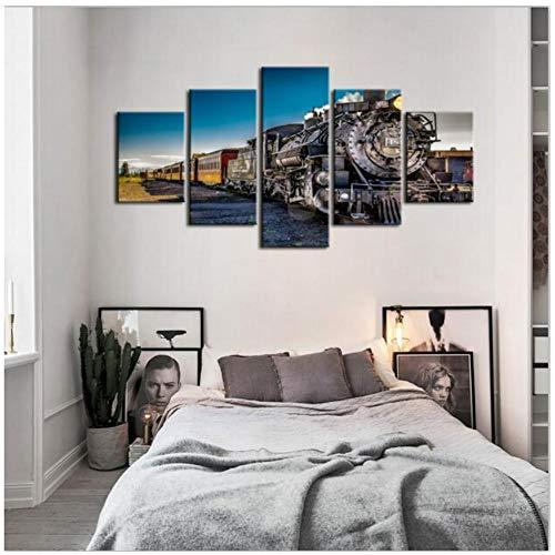 sjkkad Trein Landschap Muurkunst Schilderij Canvas Gedrukt Poster Home Decoration Vintage creatieve foto's voor woonkamer 40x60x2 40x80x2 40x100 cm Geen lijst