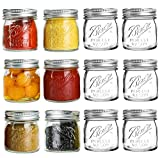 Ball Mouth Mason Jars 8 oz - 12 Pack Glass Canning Jars with Silver Metal Airtight Regular Lids and Bands,Clear Quart Mason Jars for Canning, Preserving, Baby Food, DIY Projects, Honey, Jam, Jelly