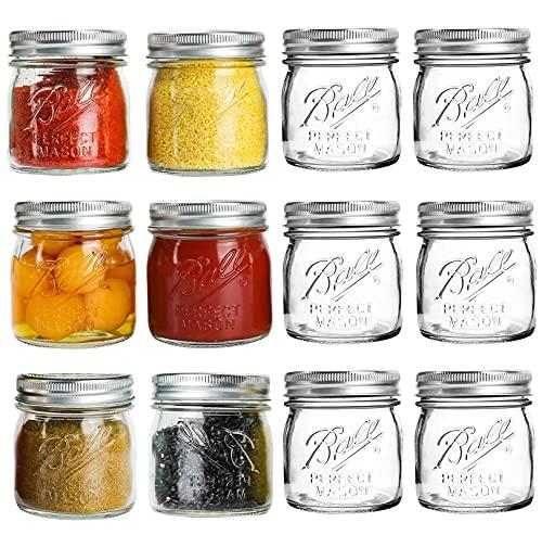 Half-Pint Mason Jars 8 oz - 12 Pack