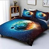 Juego de funda nórdica, Planeta Tierra en Rayos de Sol Elementos Astronomía Atmósfera Cielo Satélite Luna Imagen Lunar Juego de cama decorativo de 3 piezas con 2 fundas de almohada, Azul rojo, El mejo