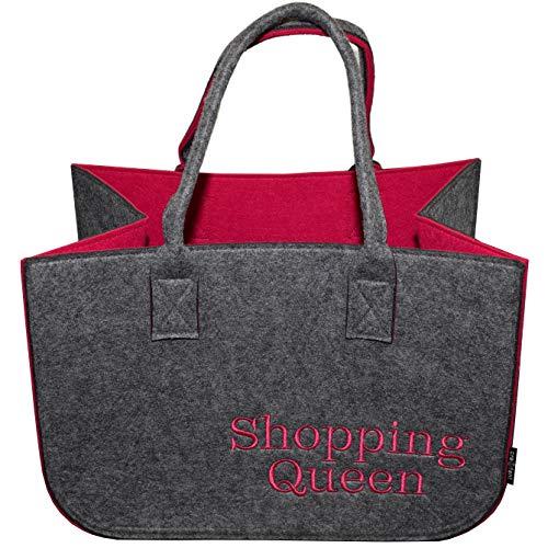 Filztasche Einkaufstasche · Henkeltasche aus Filz · Shopping Bag · Einkaufskorb mit Henkel · Shopper (Grau/Pink Shopping Queen 1)