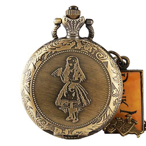 Alicia en el país de las maravillas reloj de bolsillo, retro, bonito conejo bebida vintage colgante collar cadena reloj de bolsillo, regalos para hombres