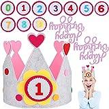 JOYUE Corona de Infantil Cumpleaños, Unisex Corona per Números Intercambiables del 0 al 9, Corona de Tela Ideal per Fiestas de Cumpleaños (Con 2 pcs Decoración de Pasteles) (Rose)