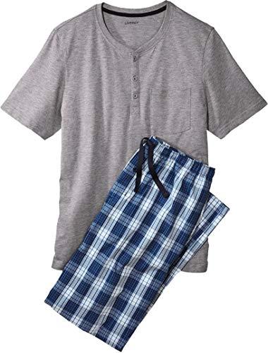 Golden Lutz - Herren Pyjama mit T-Shirt und Webhose, lang (grau Navy weiß kariert, Gr. XL 56/58) | LIVERGY