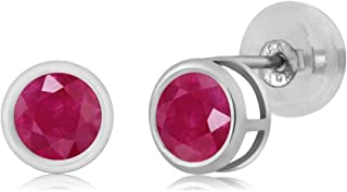 Gem Stone King 14K White Gold 0.60 Ct Round 4mm Natural Red Ruby Bezel Basket Stud Earrings