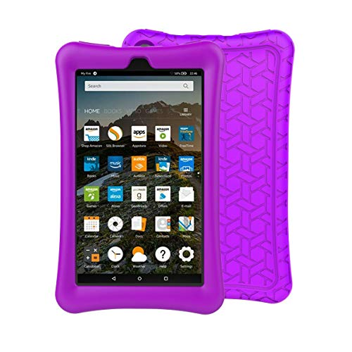 BMOUO Silicone Case for All-New Amazon Fire 7 Tablet (7th and 9th Gen, 2017 and 2019 Release) - Upgraded Comb Version Kids Friendly Light Weight Anti Slip Shock Proof Protective Cover, Purple