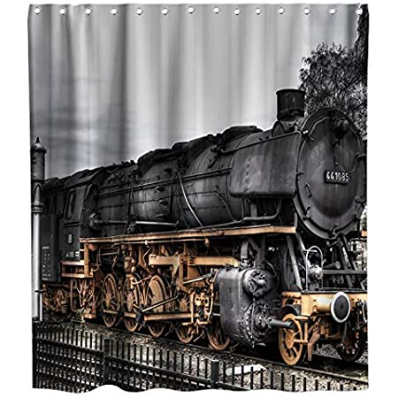 Details about  /Contemporary Steam Train Model Decor Fabric Bath Shower Curtains Assorted Sizes