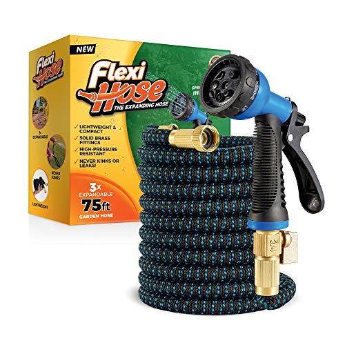 Flexi Hose Lightweight Expandable Garden Hose | No-Kink Flexibility - Extra Strength with 3/4 Inch Solid Brass Fittings & Double Latex Core | Rot, Crack, Leak Resistant (75 FT, Blue/Black)