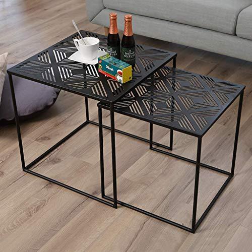 N/Z Ensemble d'équipement de Vie de 2 Table Basse gigognes carrée Canapé Table d'extrémité latérale Salon Moderne Noir empilable et évolutif