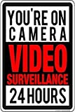 mengliangpu8190 Metal Sign Video Surveillance 24 Hours A Day Security Sign Signs Funny Tin Sign Poster DecorQuality Aluminum(Set of 1)