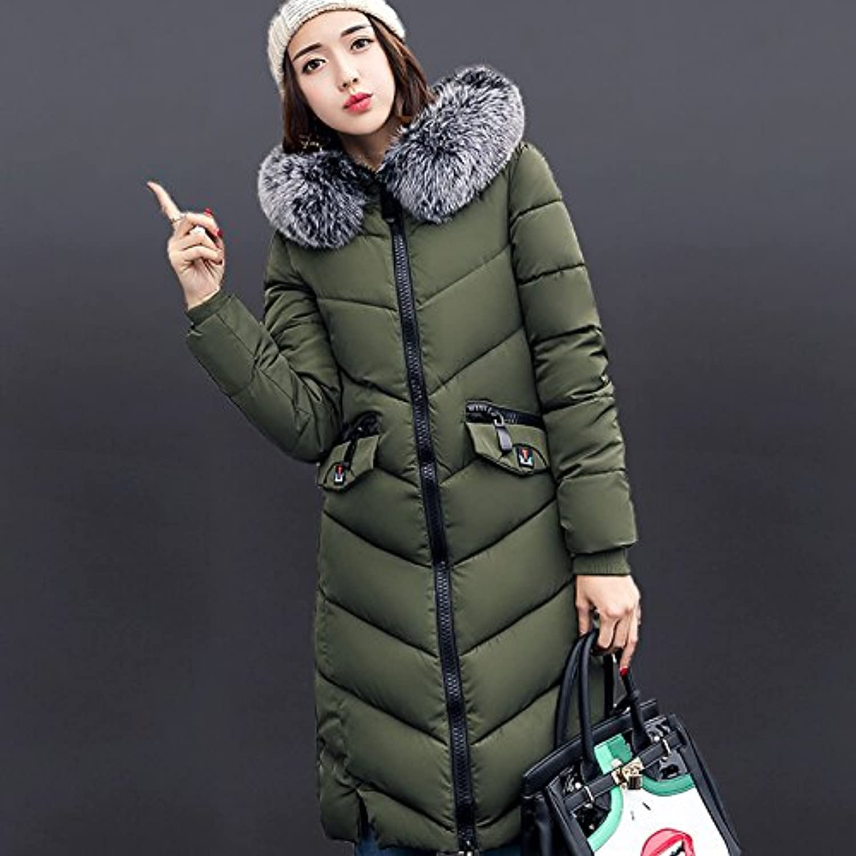 DYF Down Jacket Coat Solid color Big size Loose Zipper Hat Pocket Warm,2XL,Military Green