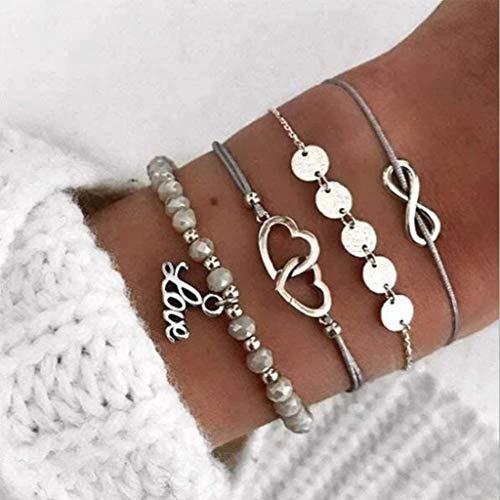 Ushiny Set di braccialetti con ciondolo a forma di cuore, con scritta Love e perline, regolabile, accessori per donne e ragazze (4 pezzi)