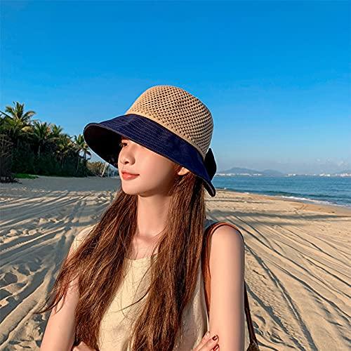 AKEFG Sombreros con Visera para el Sol, Gorra de Playa con protección UV de Verano de ala Grande para Mujer, Sombrero de Visera Convertible con protección UV para el Sol UPF 50+