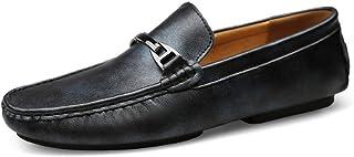 Fashion Men's Driving Set Foot Peas Shoes Leather Casual Men's Shoes Leather Shoes Men's Boots (Color : Blue, Size : 42)
