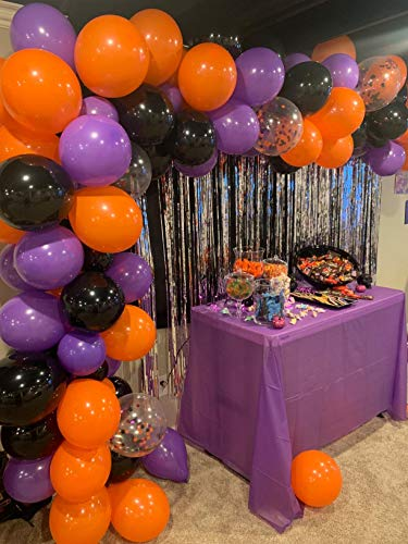 Kubert 129 Pieces Halloween Balloons Christmas Balloons Arch Garland Kit, Include Latex Balloons Confetti Balloons, Balloon Tie Tools, Balloon Strip Tape, Adhesive Dots for Christmas Halloween Party