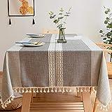 Carvapet Manteles Rectangular Manteles Algodón Lino Mantel Bordado Borla Manteles para Cocina Comedor Mesa Buffet Mantel de la Tabla (Doble Raya Borla, 140x140CM)