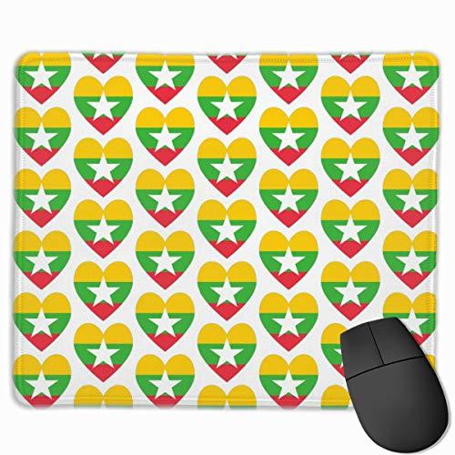 Burma Or Myanmar Flag Heart_41072 Mouse pad Custom Gaming Mousepad Nonslip Rubber Backing 9.8