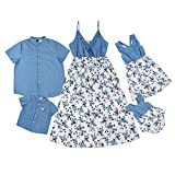 Family Matching Outfits for Whole Family Dad and Son Summer Holiday Tshirt Mother and Daughters Florl Dress for Photo (A Baby Girl, 12-18 Months)