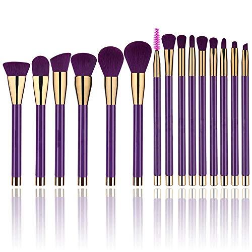 Pinceau de maquillage Brosse À Manche Long Ensemble Complet D'outils De Beauté Set Foundation Eyeshadow Liquid Eyeliner Lip Gloss Pencil Makeup Cosmetics Set (Purple) Convient Aux Professionnels Et