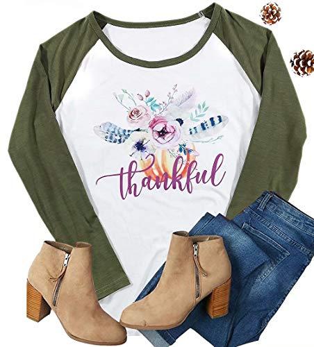 MAXIMGR Damen Baseballbluse mit Blumenmuster, Rundhalsausschnitt, langärmelig, Feder - Grün - Groß