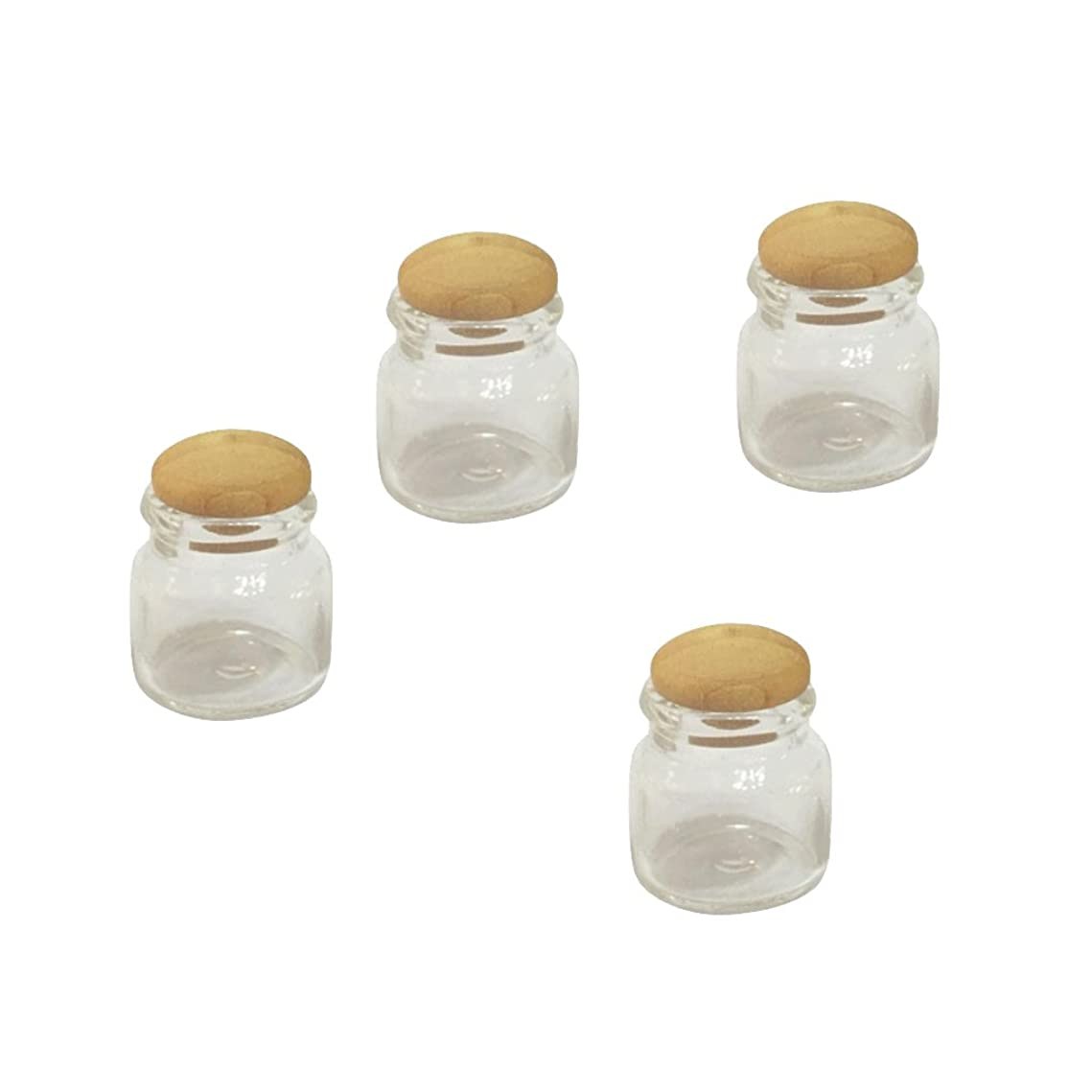 回転打撃制約4本セット ガラス ミニチュア ミニ瓶 透明 人形用  1:12人形ハウスに適応 装飾用