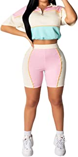 Womens 2 Piece Outfits Tracksuits Color Block Long Sleeve Bodycon Pants Jogger Set