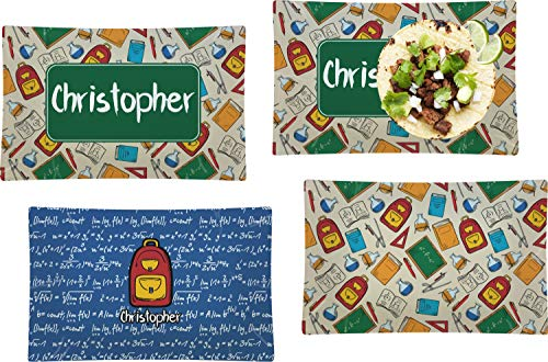 Review Of Math Lesson Set of 4 Glass Rectangular Lunch/Dinner Plate (Personalized)