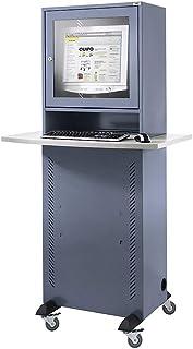 QUIPO Armoire pour ordinateur - avec plateau en mélaminé - gris bleu - compartiment séparé pour écran - IP 20 - avec table...