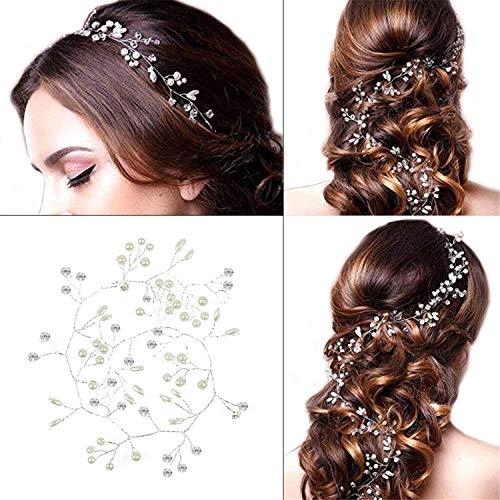 Haardraht Hochzeit Haarschmuck - Stirnband mit Kristall Fashion Schön Style Kopfschmuck Haarbänder Lange Glänzende Haarranke für Frauen und Mädchen
