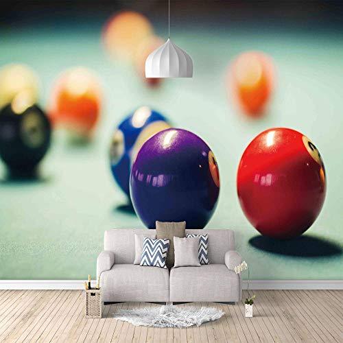 Papel Pintado 3D Billar Fotomural Para Paredes Mural Vinilo Decorativo Decoración Comedores, Salones,Habitaciones - 200 X 150 Cm