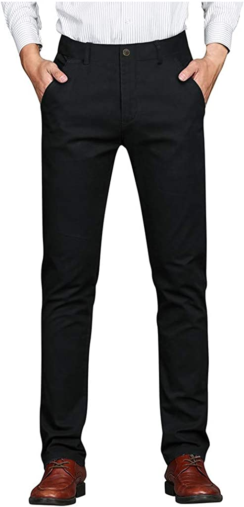 HebeTop Men's Straight-Fit Washed Comfort Stretch Chino Pant Business Long Pant