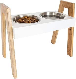 Leashboss Skyrise Adjustable Elevated Dog Feeder - Modern Raised Dog Bowls Adjust to 3 Heights, 8