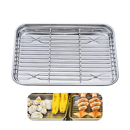 Wankd bakplaat met frame, roestvrij stalen bakplaat met koelrek, niet giftig en gezond, eenvoudig te reinigen en vaatwasmachinebestendig