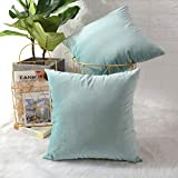 MERNETTE Pack of 2, Velvet Soft Decorative Square Throw Pillow Cover Cushion Covers Pillow case, Home Decor Decorations for Sofa Couch Bed Chair 18x18 Inch/45x45 cm (Light Green)