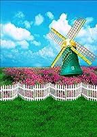 HDポリエステル背景風車の花草青空白い雲子供のための写真子供たちの誕生日パーティーゲームビデオスタジオ小道具7X10ftLETS005