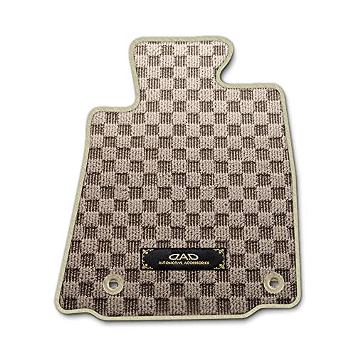 DAD ギャルソン HONDA (ホンダ) S-MX 型式:RH1/2 D.A.D フロアマット チェックモデル 1台分 [車種品番:HN0032] チェックモデルベージュ/オーバーロック(ふちどり)カラー:ベージュ/刺繍:ゴールド/ヒールパッド無し DF
