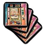 cst_5088_3 Florene Famous Art – Matisse Gemälde das offene Fenster – Untersetzer – Set mit 4 Keramikfliesen-Untersetzern