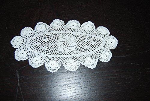 Unbekannt Bellissimo filigrana mano uncinetto Sottovaso ovale bianco con rose 100% cotone 17,5x 10cm 4St.