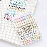 DEWEI Cute Fabricolor Escribir Cepillo rotulador de Colores Suaves rotuladores Set para niños Regalo Arte caligrafía Dibujo Suministros papelería, 10 Colores