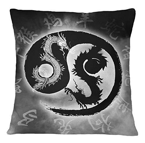 Timingila Gris Lona Fundas de colchón símbolo del dragón de Yin Yang Cojines Decorativos Fundas de cojín para sofá Cama 1 Unids - 18 x 18 Pulgadas
