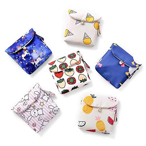BUIDI Frauen Mädchen niedlich tragbare Damenbinde Tasche Serviette Handtuchhalter Veranstalter Convenience Bag Karte Make-up Münze Geldbörse Travel Storage